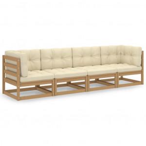 Canapea de grădină cu 4 locuri, cu perne, lemn masiv de pin