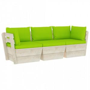 Canapea de grădină din paleți, 3 locuri, cu perne, lemn molid