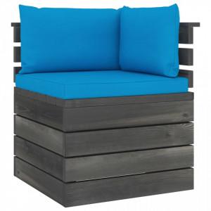 Canapea de grădină din paleți, colțar, cu perne, lemn de pin