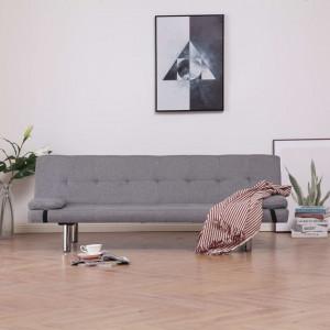 Canapea extensibilă cu două perne, gri deschis, poliester