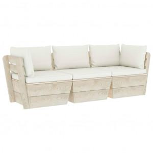 Canapea grădină din paleți, 3 locuri, cu perne, lemn de molid