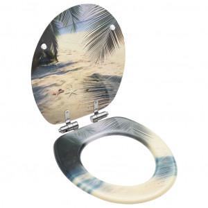 Capac WC cu închidere silențioasă, MDF, model plajă