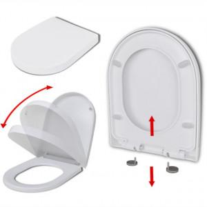 Capac WC, închidere silențioasă, demontare rapidă, alb, pătrat