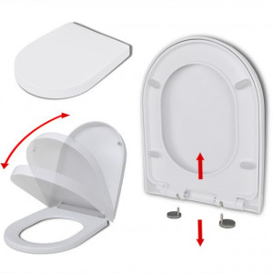 Capac WC, închidere silențioasă, eliberare rapidă, alb, pătrat