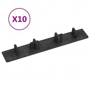Capace de capăt pardoseală terasă, 10 buc., negru, plastic