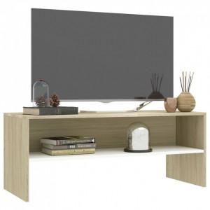 Comodă TV, alb și stejar sonoma, 100 x 40 x 40 cm, PAL
