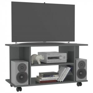 Comodă TV cu rotile, gri foarte lucios, 80 x 40 x 40 cm, PAL