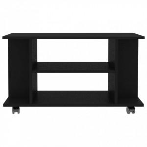 Comodă TV cu rotile, negru, 80 x 40 x 40 cm, PAL