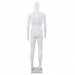 Corp manechin masculin, cu suport din sticlă, Alb lucios 185 cm