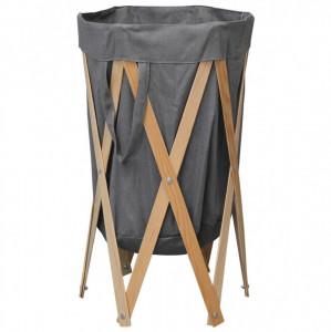 Coș de rufe pliabil, gri, lemn și material textil