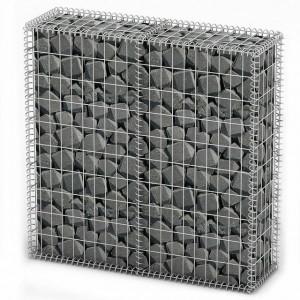 Coș gabion cu capace, sârmă galvanizată, 100 x 100 x 30 cm
