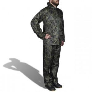 Costum ploaie bărbați 2 piese cu glugă Camuflaj M