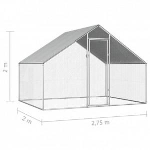 Coteț de exterior pentru păsări, 2,75x2x2 m, oțel galvanizat