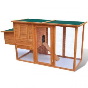 Coteț de păsări pentru exterior adăpost găini cu 1 cuibar lemn
