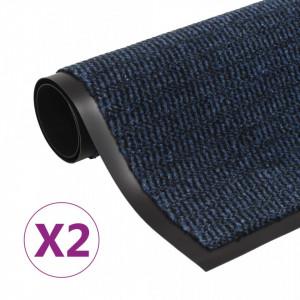 Covoare ușă anti-praf, 2 buc. albastru 90x150 cm dreptunghiular