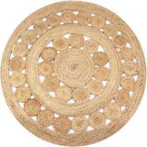 Covor din iută cu design împletit, 120 cm rotund
