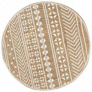 Covor manual cu imprimeu alb, 90 cm, iută
