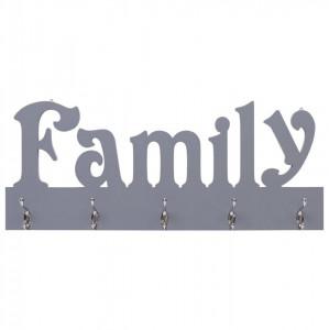 Cuier de perete FAMILY, gri, 74 x 29,5 cm