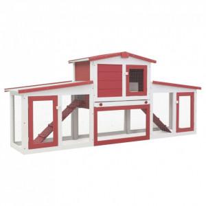 Cușcă exterior pentru iepuri mare roșu&alb 204x45x85 cm lemn