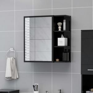 Dulap de baie cu oglindă negru extralucios 62,5x20,5x64 cm PAL