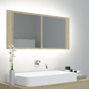 Dulap de baie cu oglindă și LED, stejar Sonoma, 100x12x45 cm