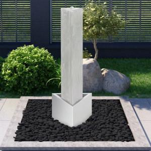 Fântână de grădină, argintiu, 37,7x32,6x110 cm, oțel inoxidabil
