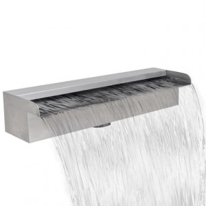 Fântână de piscină dreptunghiulară cu cascadă 45 cm oțel inoxidabil