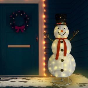 Figurină om de zăpadă decorativ Crăciun LED țesătură lux 180 cm