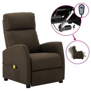 Fotoliu de masaj rabatabil electric, maro, material textil