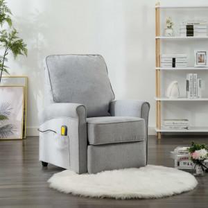 Fotoliu masaj electric rabatabil, gri deschis, material textil