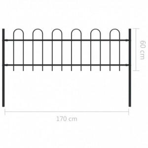 Gard de grădină cu vârf curbat, negru, 1,7 x 0,6 m, oțel