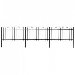 Gard de grădină cu vârf curbat, negru, 5,1 x 1 m, oțel
