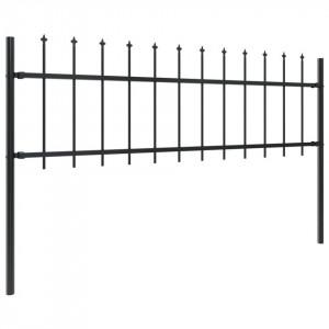 Gard de grădină cu vârf suliță, negru, 15,3 x 0,6 m, oțel