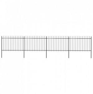 Gard de grădină cu vârf suliță, negru, 6,8 x 1,2 m, oțel