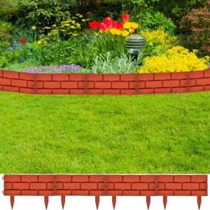 Gard pentru peluză Model cărămidă 11 buc