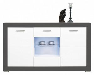 Gray gr-4 white mat-graphite comoda cu vitrina