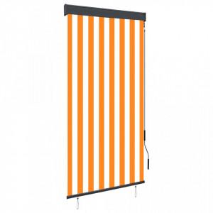 Jaluzea tip rulou de exterior, alb și portocaliu, 80 x 250 cm