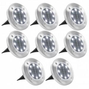 Lămpi solare pentru sol, 8 buc., cu LED-uri, lumină albă