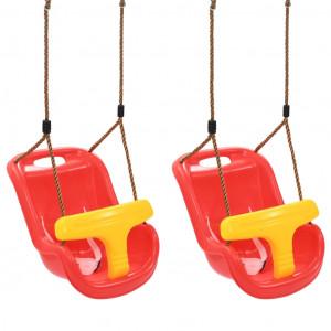 Leagăne de bebeluși, 2 buc., roșu, PP, cu centură de siguranță
