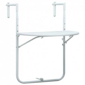 Masă balcon suspendată alb 60x64x83,5 cm plastic aspect ratan