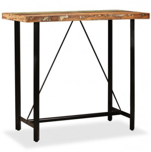 Masă de bar din lemn masiv reciclat, 120 x 60 x 107 cm