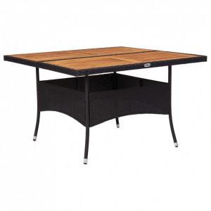 Masă de exterior, negru, poliratan și lemn masiv de acacia