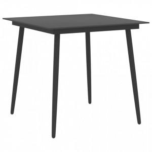 Masă de grădină, negru, 80 x 80 x 74 cm, oțel și sticlă