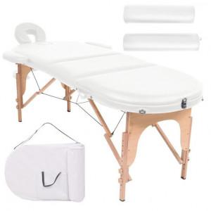 Masă masaj pliabilă, 4 cm grosime, cu 2 perne, alb, oval