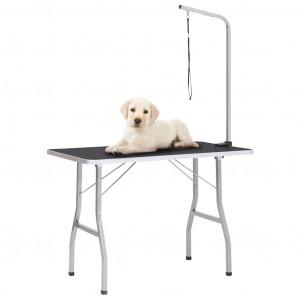 Masă pentru îngrijirea câinilor reglabilă, cu 1 lesă