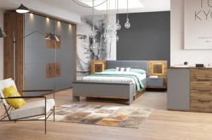 Mobila Dormitor Livorno oak wotan/bazaltowo-grey