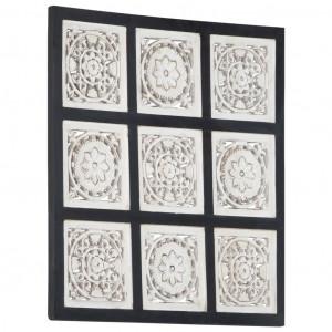 Panouri de perete sculptate manual, negru/alb, 60x60x1,5 cm MDF