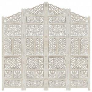 Paravan cameră sculptat manual, 4 panouri, alb 160x165 cm mango