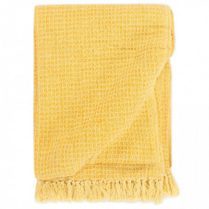 Pătură decorativă, galben muștar, 220 x 250 cm, bumbac