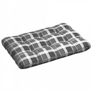 Pernă de paleți, gri carouri, 120 x 80 x 12 cm, material textil